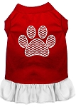 Chevron Paw Screen Print Dress Red with White XS (8)
